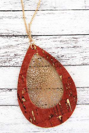 Coral Cork and Goldtone Filigree Teardrop Necklace