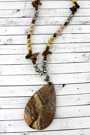 Picture Jasper Stone Teardrop Pendant Beaded Necklace