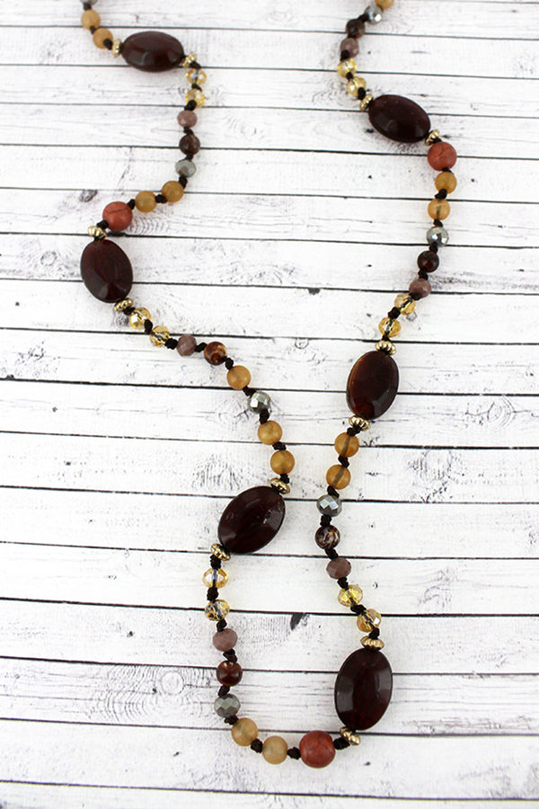 Multi-Brown Oval Mixed Bead Endless Necklace