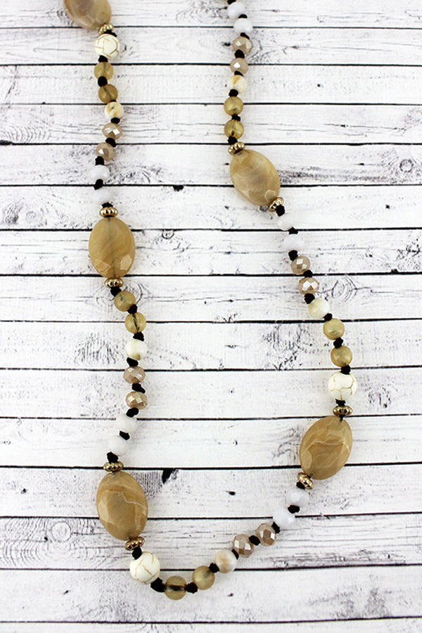 Ivory and Caramel Oval Mixed Bead Endless Necklace