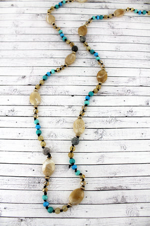 Turquoise and Caramel Oval Mixed Bead Endless Necklace