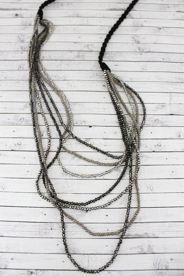 Layered Black Monochrome Glass Bead Braided Cord Necklace