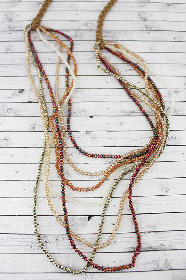 Layered Iridescent Red Multi-Color Glass Bead Braided Cord Necklace