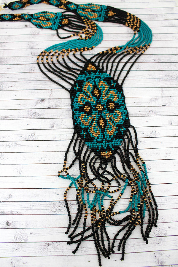 Turquoise and Black Seed Bead Flower Fringe Necklace