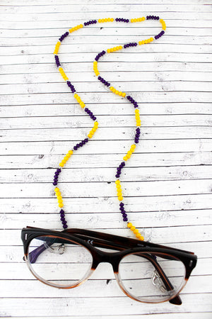 Purple and Yellow Faceted Bead Eyeglasses Strap Necklace