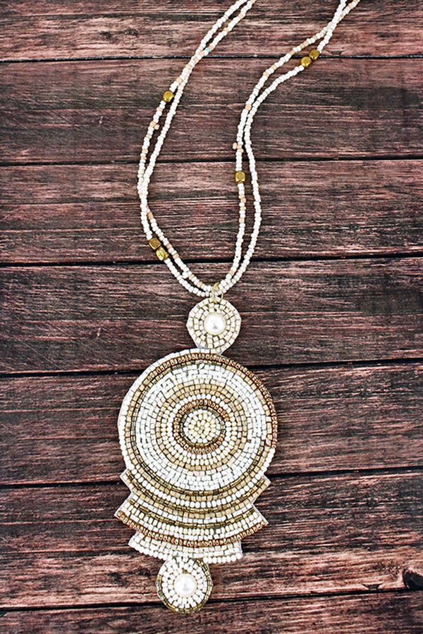 Ivory Multi-Color Seed Bead Geo Disk Pendant Necklace
