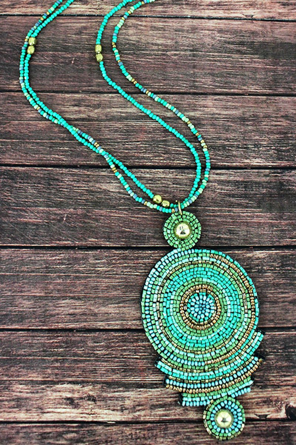 Mint Multi-Color Seed Bead Geo Disk Pendant Necklace