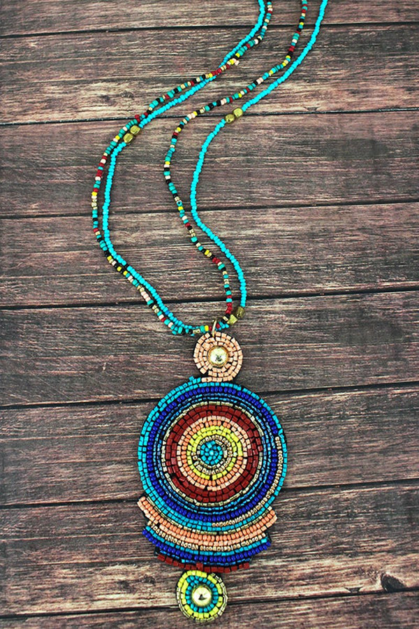 Multi-Color Seed Bead Geo Disk Pendant Necklace