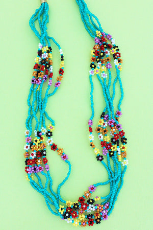 Summer Flowers Turquoise Seed Bead Necklace