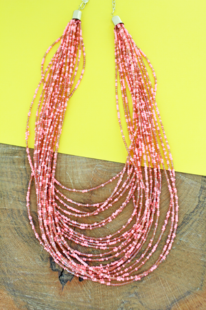 Layered Coral Seed Bead Necklace