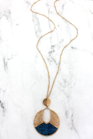 Goldtone Filigree and Blue Cork Cut-Out Disk Necklace