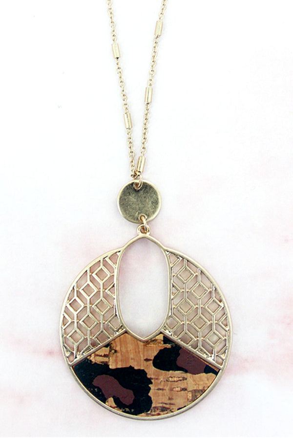 Goldtone Filigree and Leopard Cork Cut-Out Disk Necklace