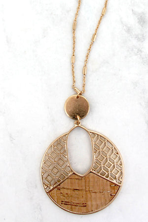 Goldtone Filigree and Natural Cork Cut-Out Disk Necklace