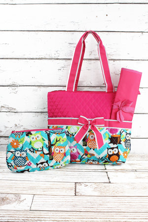 Aqua Chevron Owl Party Quilted Diaper Bag with Hot Pink Trim