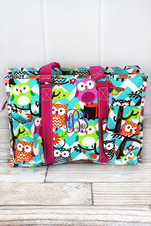 Aqua Chevron Owl Party Utility Tote with Hot Pink Trim