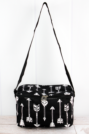 Straight & Arrow Black Insulated Shoulder Lunch Bag