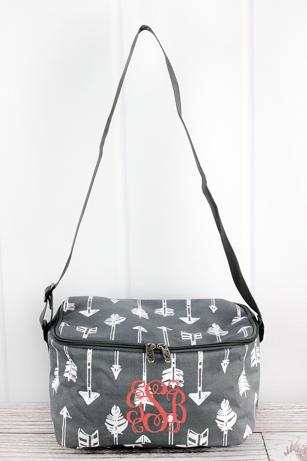 Straight & Arrow Gray Insulated Shoulder Lunch Bag