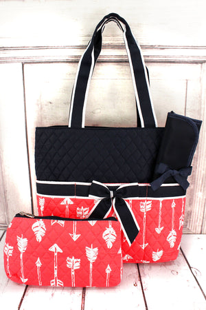 Straight & Arrow Coral Quilted Diaper Bag with Navy Trim