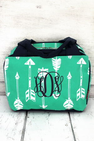 Straight & Arrow Mint Insulated Bowler Style Lunch Bag with Navy Trim #ARB255-MINT