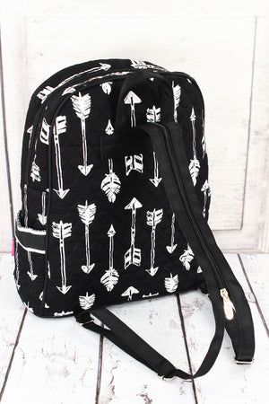 Straight & Arrow Black Quilted Backpack