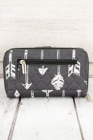 Straight & Arrow Gray Quilted Organizer Clutch Wallet #ARB517-GRAY