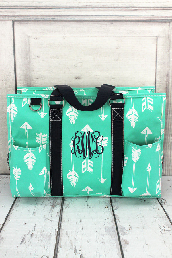 Straight & Arrow Mint Utility Tote with Navy Trim #ARB731-MINT
