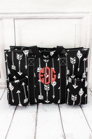 Straight & Arrow Black Large Organizer Tote #ARB733-BLACK
