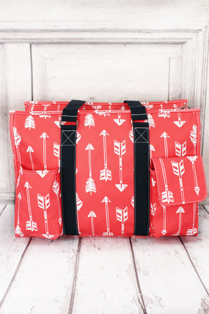 Straight & Arrow Coral with Navy Trim Large Organizer Tote #ARB733-CORAL