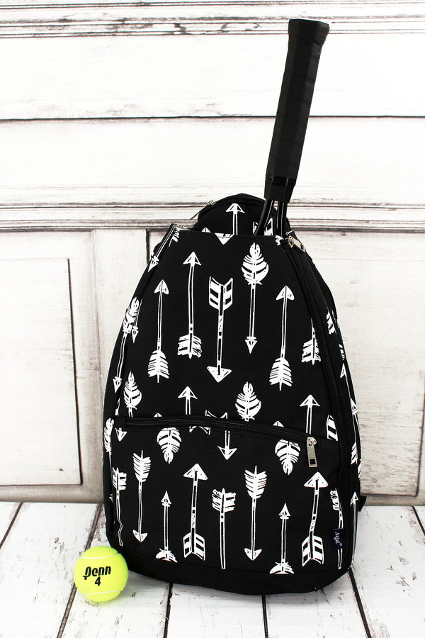 Straight & Arrow Black Tennis Backpack