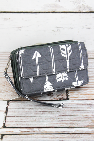 Straight & Arrow Gray Quilted Crossbody Organizer Clutch