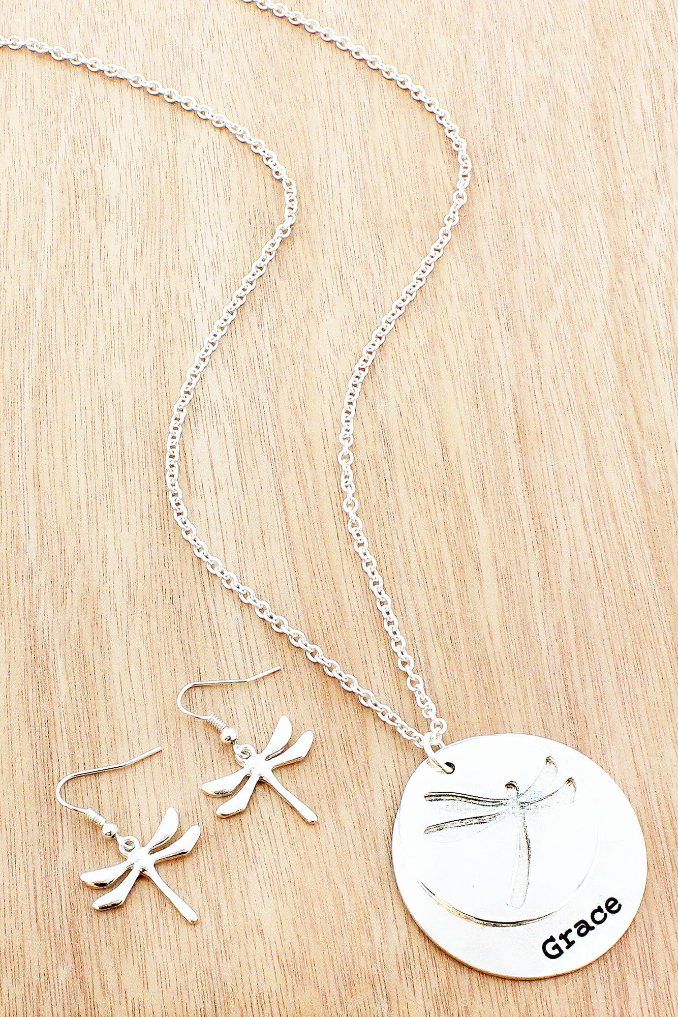 Silvertone cut out dragonfly grace layered disk pendant necklace silvertone cut out grace layered disk pendant necklace and earring set as5652 aloadofball Images