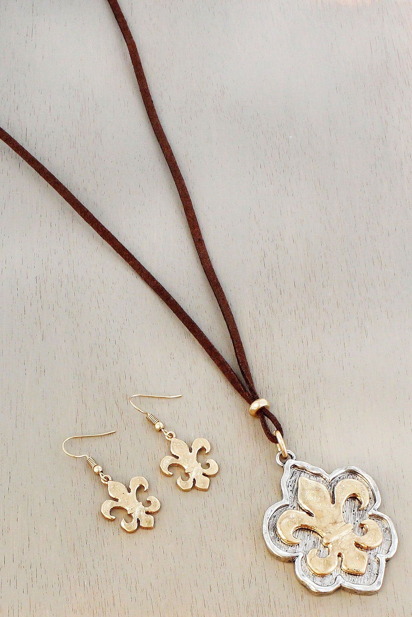 Two tone fleur de lis pendant cord necklace and earring set ewam two tone fleur de lis pendant cord necklace and earring set aloadofball Image collections