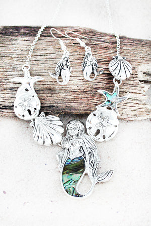 Under The Sea Silvertone and Abalone Mermaid Necklace and Earring Set