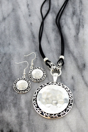 Silvertone Scroll Trimmed Disk Black Cord Necklace and Earring Set