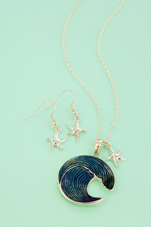 Ocean Blue Breaking Wave and Silvertone Starfish Necklace and Earring Set