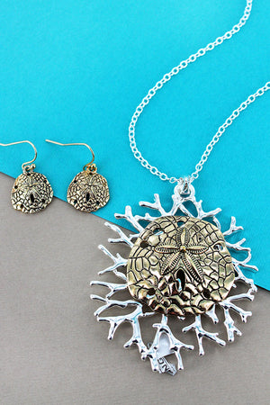 Two-Tone Sand Dollar on Coral Pendant Necklace and Earring Set