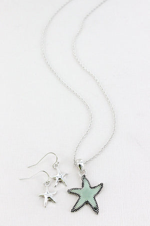 Turquoise Sea Glass and Silvertone Starfish Pendant Necklace and Earring Set