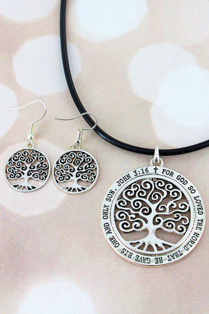 Silvertone Tree of Life 'John 3:16' Pendant Cord Necklace and Earring Set