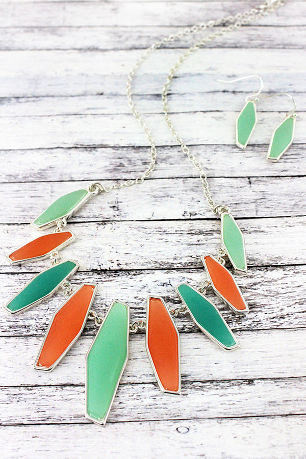 Tri-Color Sea Glass and Silvertone Fringe Necklace and Earring Set