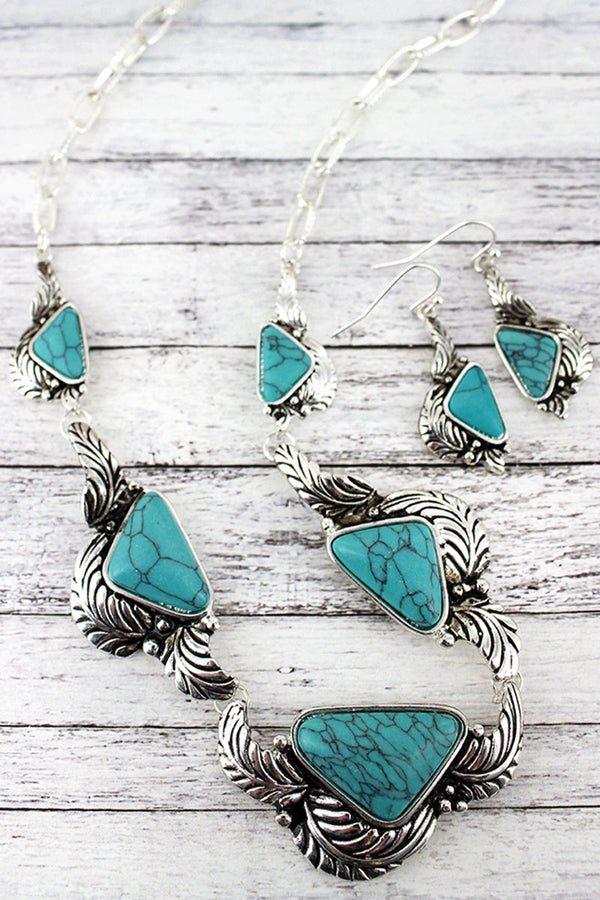 Silvertone and Turquoise Triangle Leaf Necklace and Earring Set