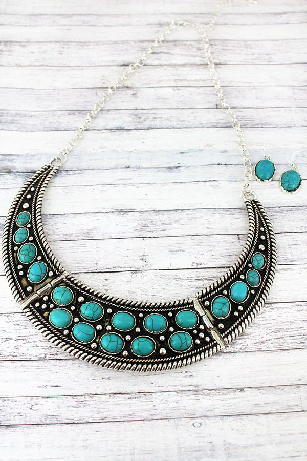 Turquoise Beaded Silvertone Crescent Bib Necklace and Earring Set