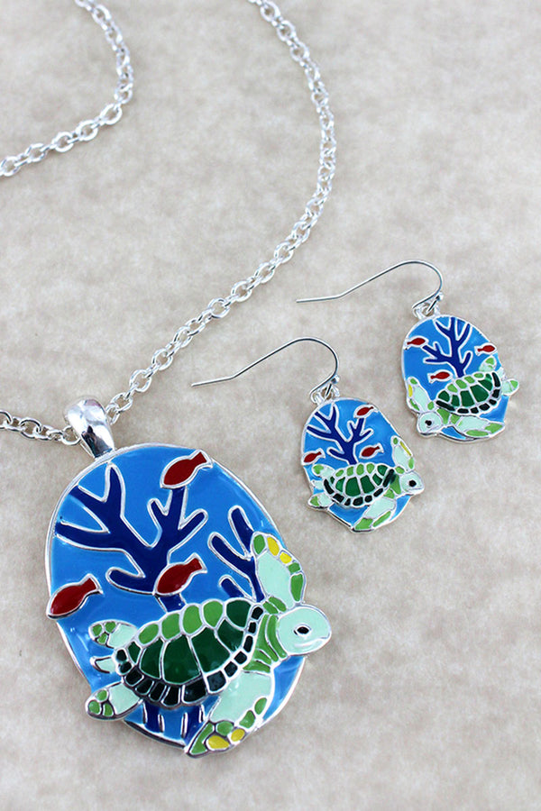 Colorful Turtle Pendant Silvertone Necklace and Earring Set