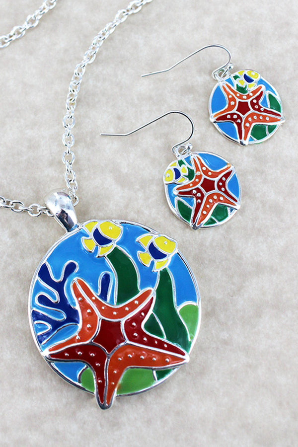 Colorful Starfish Pendant Silvertone Necklace and Earring Set