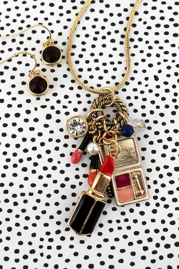 Makeup Themed Charm Pendant Goldtone Necklace and Earring Set