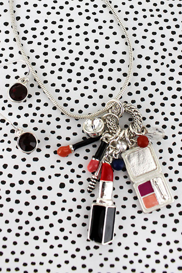 Makeup Themed Charm Pendant Silvertone Necklace and Earring Set