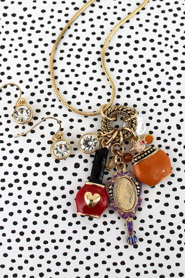 Beauty Themed Charm Pendant Goldtone Necklace and Earring Set