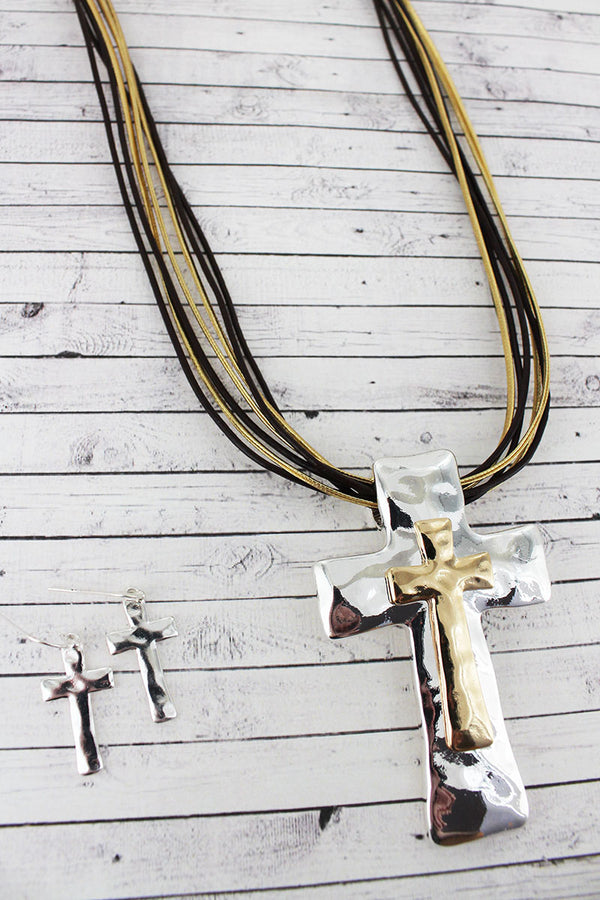 Two-Tone Layered Cross Pendant Multi-Cord Necklace and Earring Set