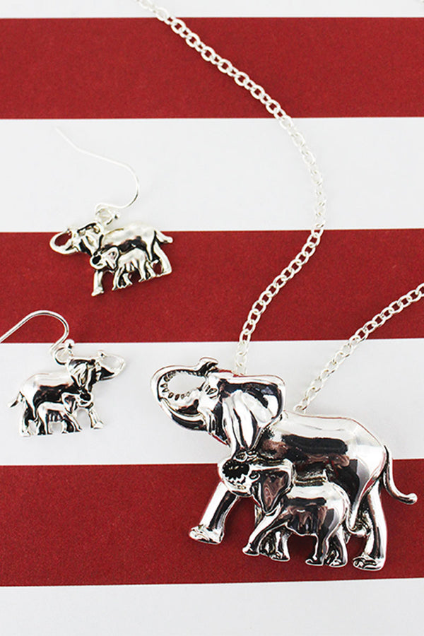 Silvertone Mama Elephant Pendant Necklace and Earring Set