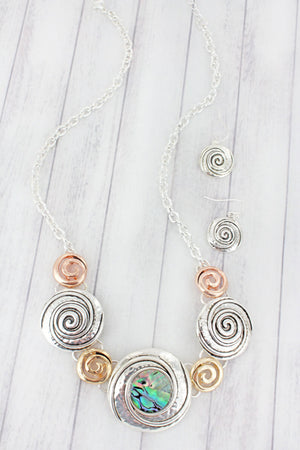 Tri-Tone and Abalone Swirl Necklace and Earring Set