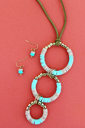 Mint Disk and Goldtone Bead Tiered Circle Necklace and Earring Set